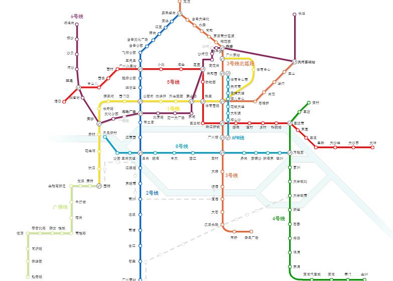 广州地铁在官网上公布了全市轨道交通新线的建设概况