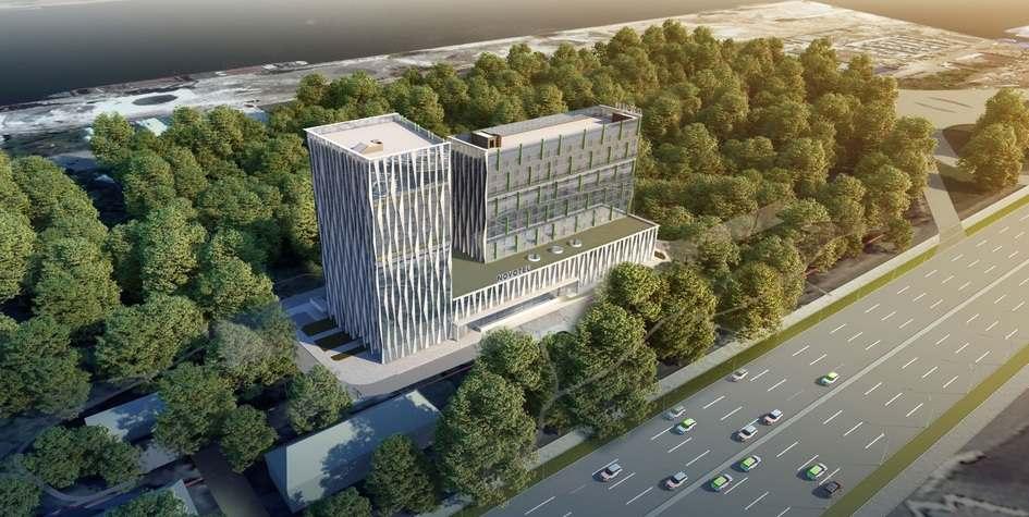 在列宁格勒公路上建造一个绿色的屋顶旅馆